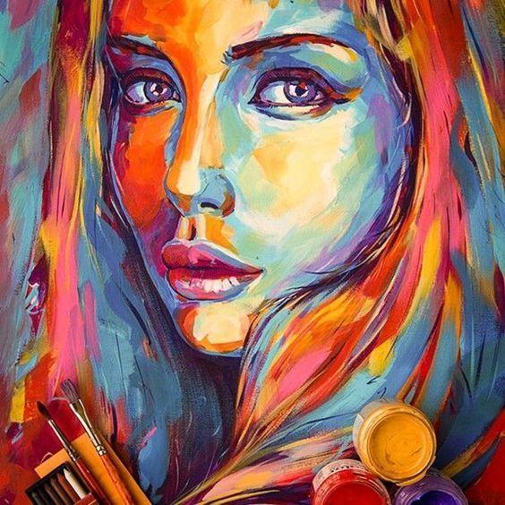 Portrait De Peinture Acrylique Portrait Abstrait Peinture