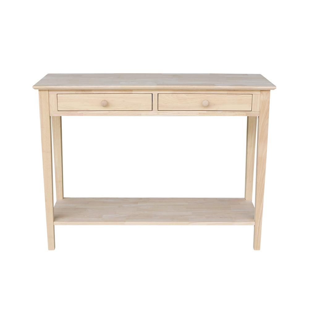 Table Unfinished Wood International Concepts Spencer Unfinished Storage Console Table