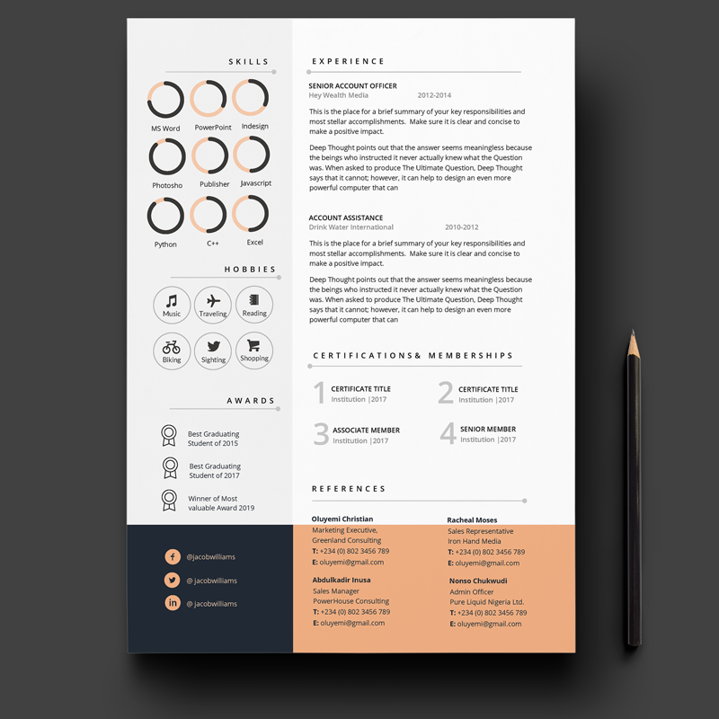 Pages Resume Template 2 Pages Cv Template  Cover Letter Professionally Designed In Ms