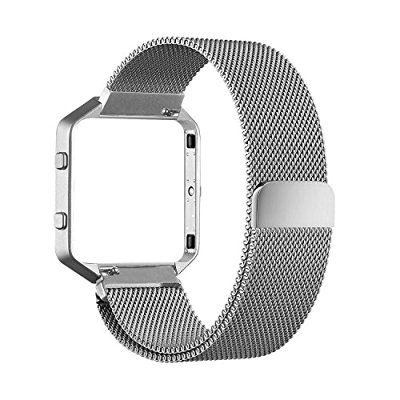 "Fitbit Blaze Accessories Band -  Milanese Loop Stainless Steel Mesh Bracelet Metal Replacement Strap Band with Unique Magnetic Lock for Fitbit Blaze Smart Fitness Watch (6.3""-9.1"")"