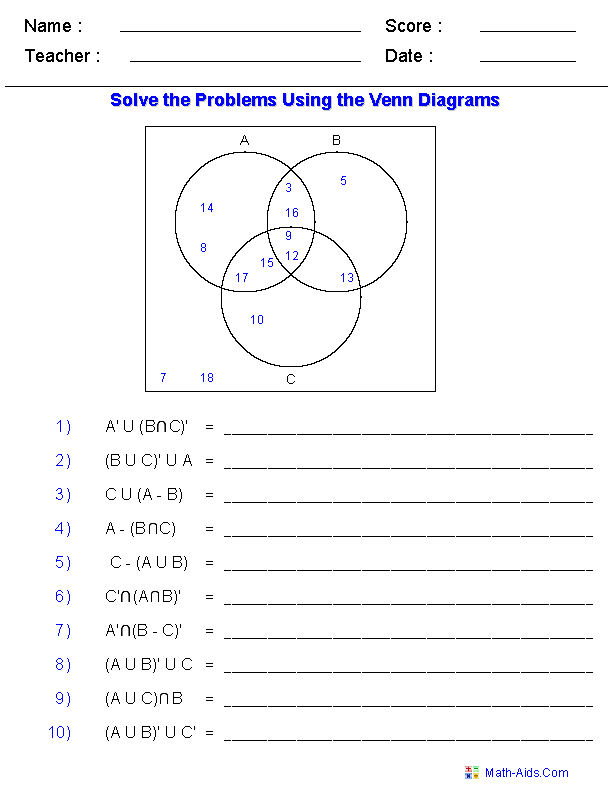 venn diagram worksheets - set notation problems using three sets