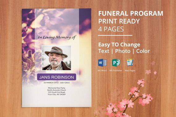 Printable Funeral Program Template, Obituary Program Template ...