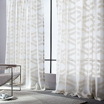 Sheer Clipped Jacquard Curtain Westelm