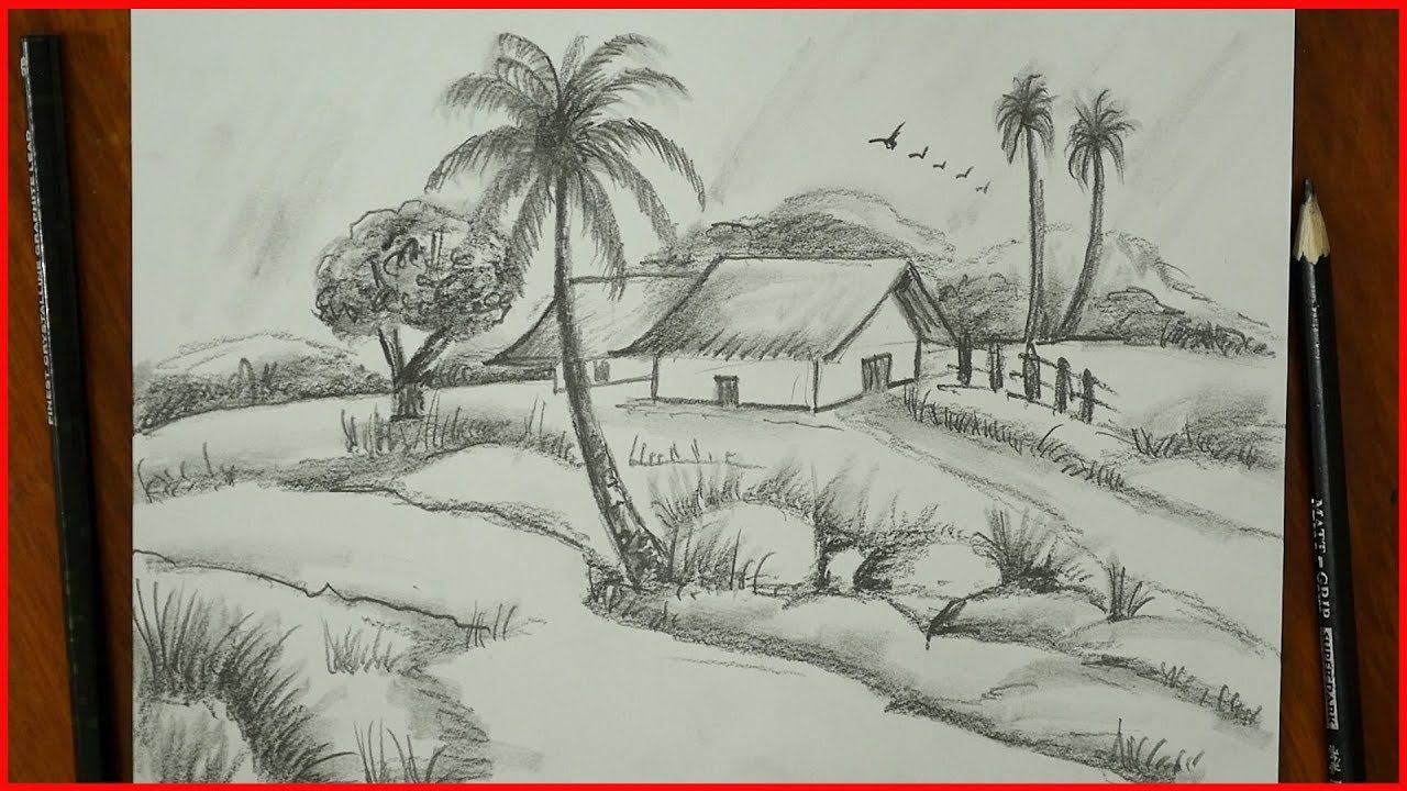 Nature Drawing Pencil Sketch Village Landscape For Exams S Nagender Pencil Drawings Nature Drawing Pencil Drawing Pictures