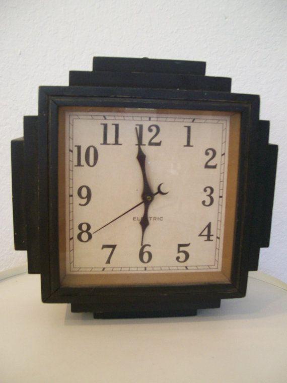 Art Deco Skyscraper Wood Wall Clock 1930s Clock Wood Wall Clock Wall Clock