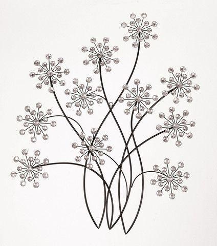 Contemporary Black Jeweled Metal Flower Wall Art Sculpture 31x 24 Modern Decor
