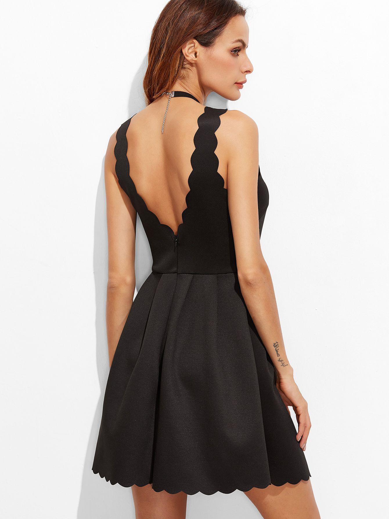 Shop Black Scallop Edge V Back Box Pleated Dress online. SheIn ...