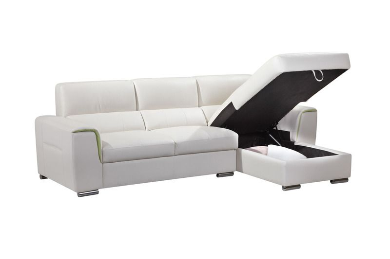 Ac Pacific Modern Small White Sectional Sofa Couch Storage Chaise