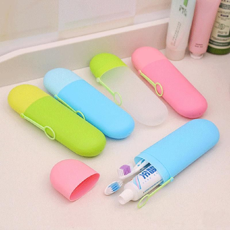 Camping Bathroom Toothbrush Holders Toothpaste Cartridge Compartment Cover Cups