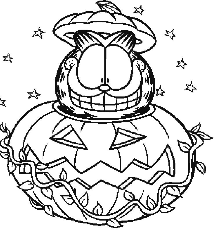 Garfield And Pumpkins Coloring Page Halloween Coloring Sheets Halloween Coloring Pages Cartoon Coloring Pages