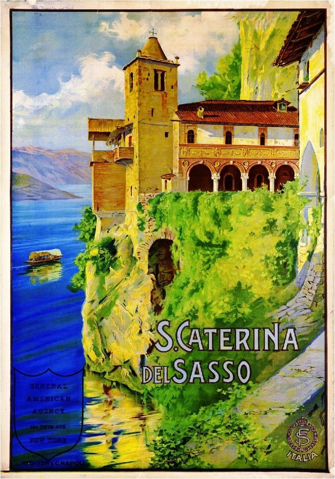 TV47 Vintage A3 1925 Lake Lago D/'Orta Italy Italian Travel Poster