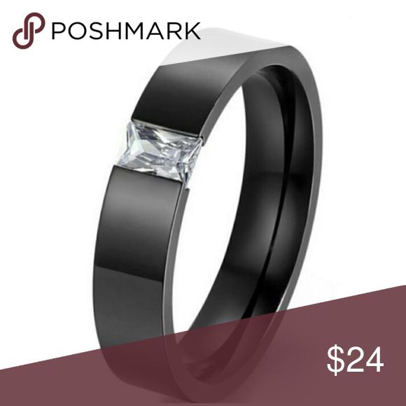 93fb4b6dfb3 Diamond Black Wedding Ring Band Minimalist Emerald Cut Diamond  in bold  matte black band.  diamond is real but created in a lab  blackring   emeraldcut ...