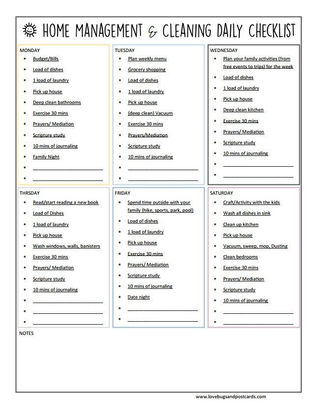 Printable Household Weekly Cleaning Checklist Weekly cleaning