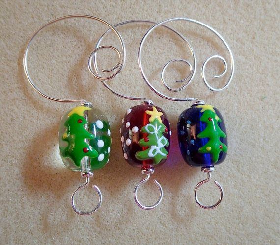Set of 3 Beaded Ornament Hangers for Christmas by corkycat on Etsy