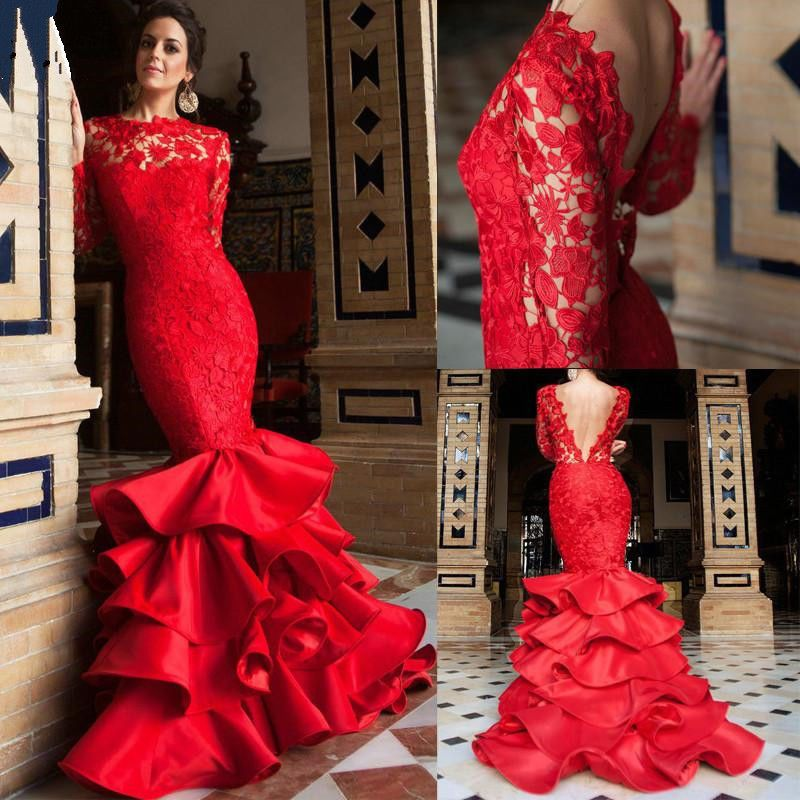 Red Mermaid Wedding Dresses Lace Long Sleeve V Back Tiered Ruffle
