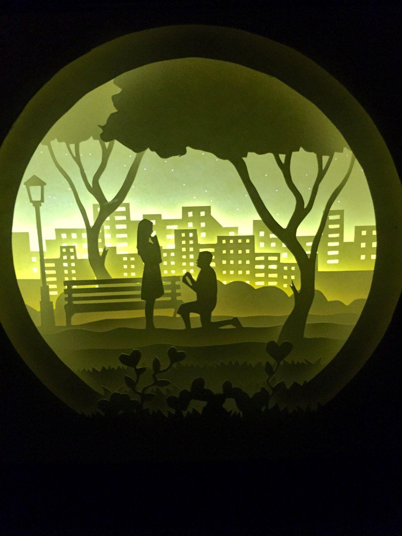 Silhouette Love Moon paper cut Light box Night light by trysogodar ...