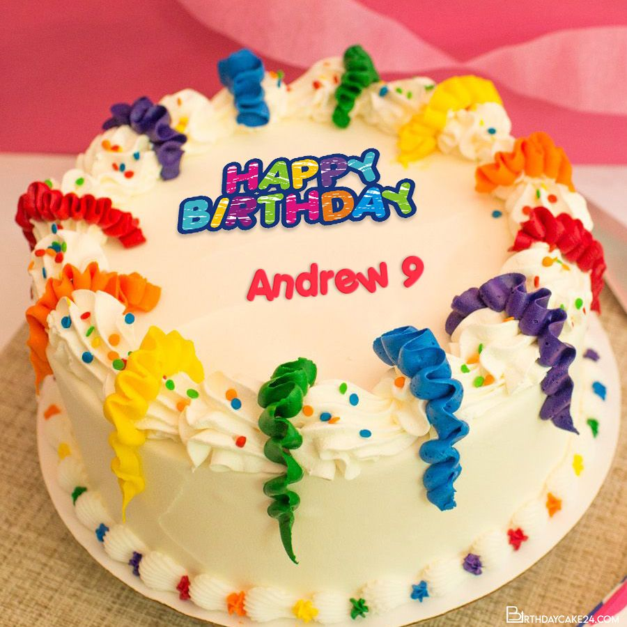 Colorful Happy Birthday Cake With Your Name Edit in 2020 ...