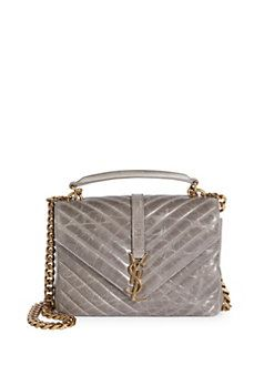Metallic Leather Monogram Shoulder Bag Saint Laurent Iw1tSKj