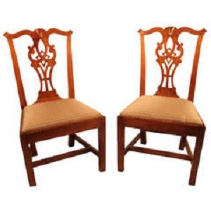 e9703c19b3dc Pair of Chippendale Mahogany side chairs with carved fans on serpentine top  rail over pierced carved
