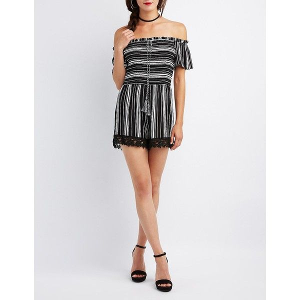 1e5b730f4c76 Charlotte Russe Striped Off-The-Shoulder Smocked Romper ( 26) ❤ liked on