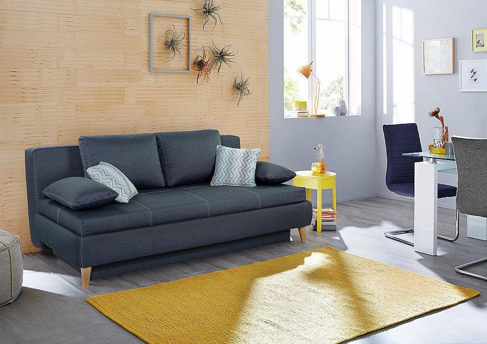 Home affaire Schlafsofa, Boxspring für Dauerschläfer geeignet Jetzt - Wohnzimmer Grau Orange