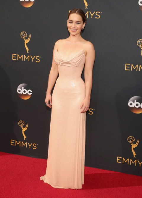Emilia Clarke looked like a queen in her tight, nude Atelier Versace gown -- check out some of the other best red carpet styles from Emmys 2016!