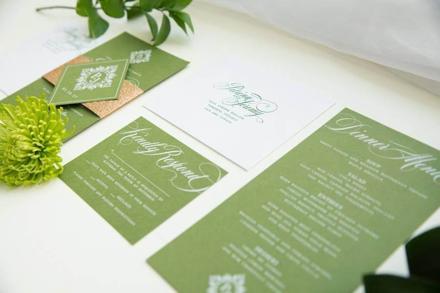 Modern green wedding invitation stationery suite with white ink and ...