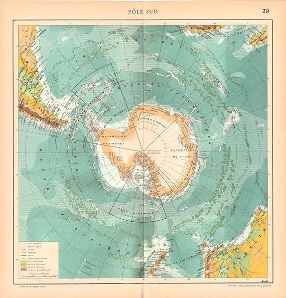Southern Pole Antique Map Large Authentic 1930s Map of Antarctica