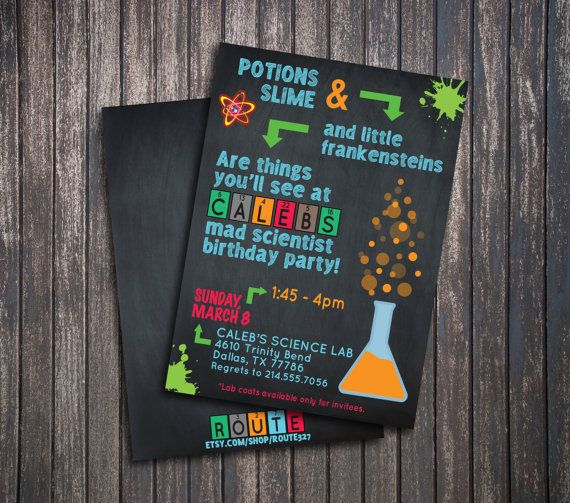 Mad Science Mad Scientist Party Invitation With Slime Beaker