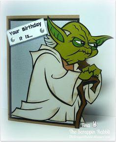 Cricut Yoda Card Star Wars Card The Scrappin Rabbit Cricut Birthday Cards Birthday Cards For Boys Birthday Cards Diy