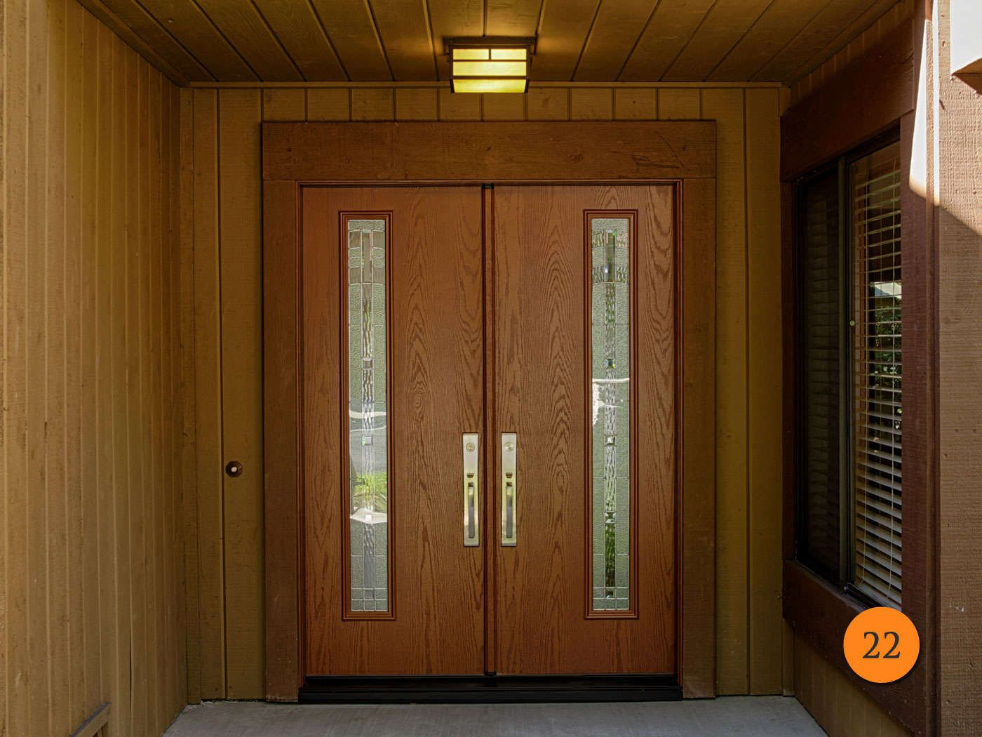 after modern 30 inch fiberglass double entry doors with 5 foot entrance oak wood skin factory stained cherry with maple park glass - Modern Exterior Double Doors