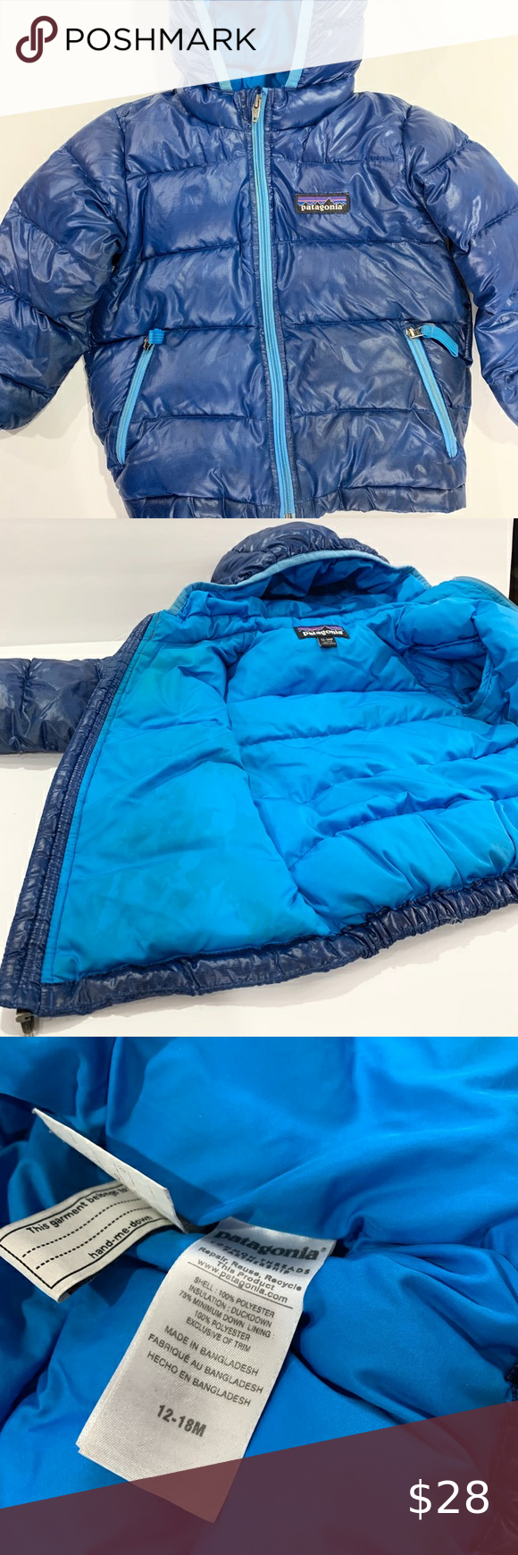 Patagonia baby down puffer jacket blue 12 to 18 m in 2020