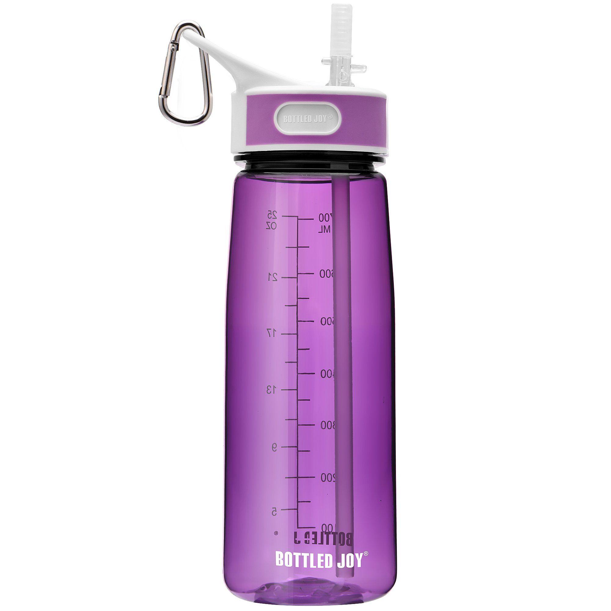 BOTTLED JOY Sports Water Bottle with Straw Tritan Water