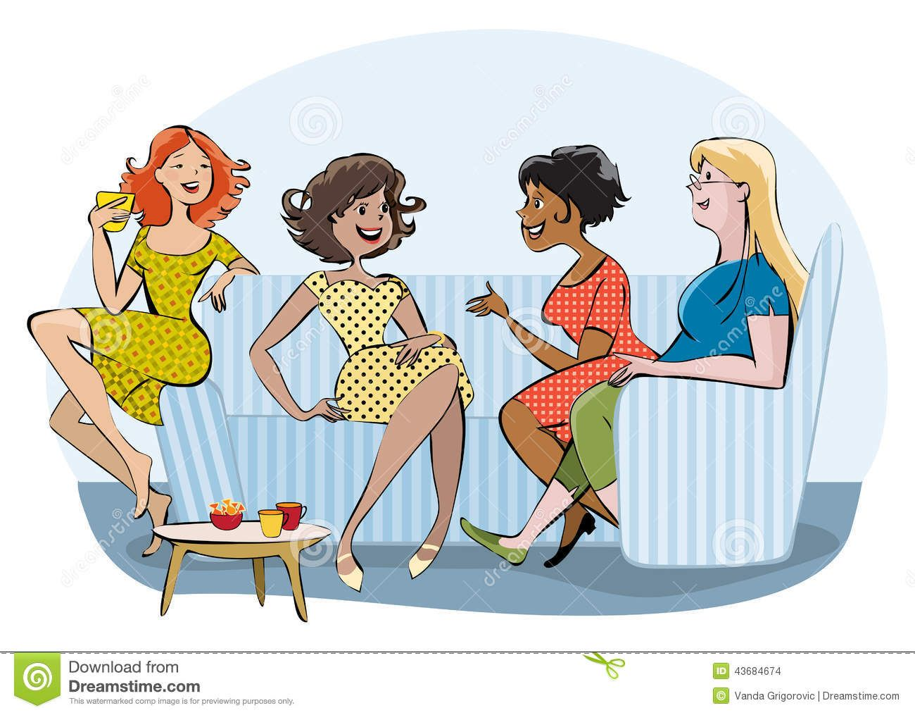 cartoon+pics+of+groups+of+women | Vector cartoon of a ...