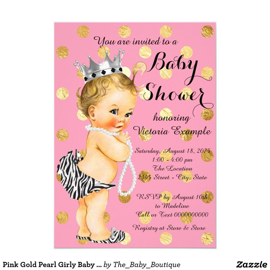Pink Gold Pearl Girly Baby Shower Card | Gold pearl, Girly and Pearls