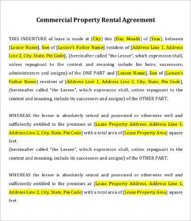 Lease Agreement Templates 10+ Printable Word  PDF Formats - agreement in word