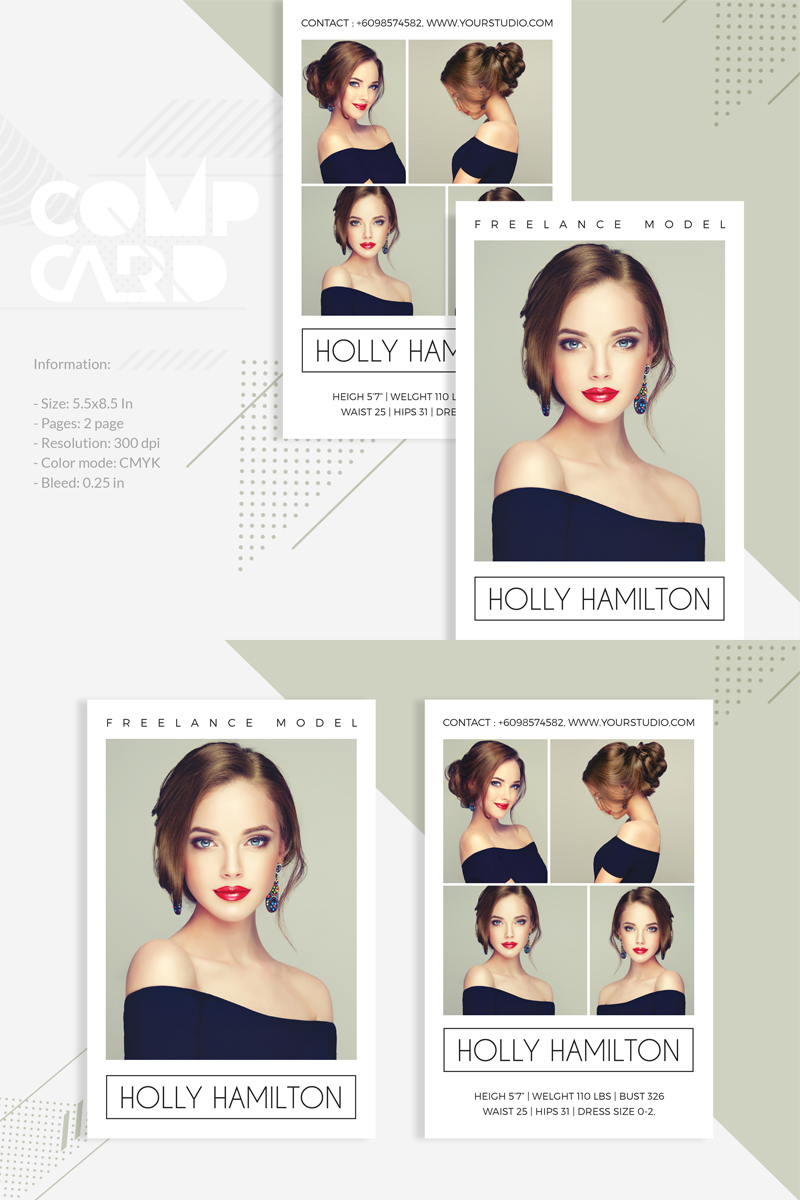 Modeling Comp Card Template Model Comp Card Business Card Template Design Business Cards Creative Templates