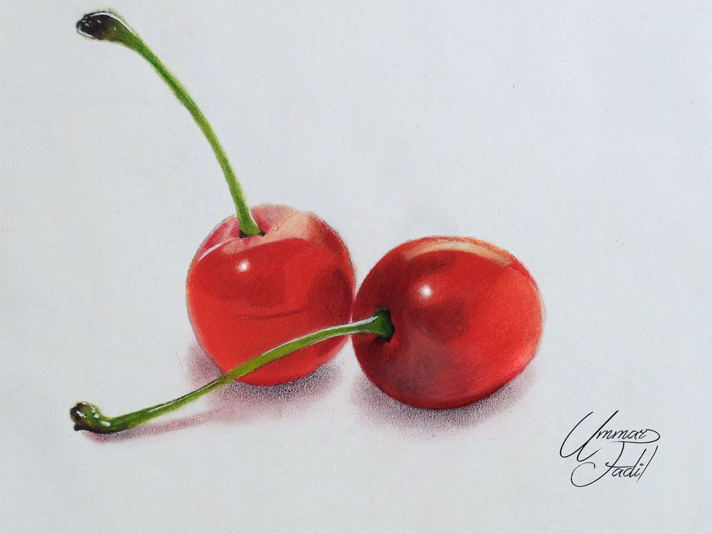How to draw with colored pencils - Drawing Fruits 1 Cherries Colored Pencils By F A D I L On Deviantart