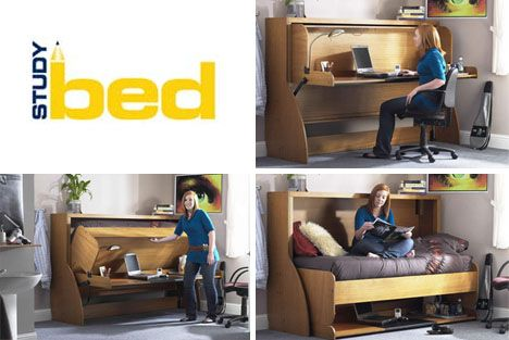 Fold Out Bed Conceals Messy Desks Hidden Bed Bed Design Murphy
