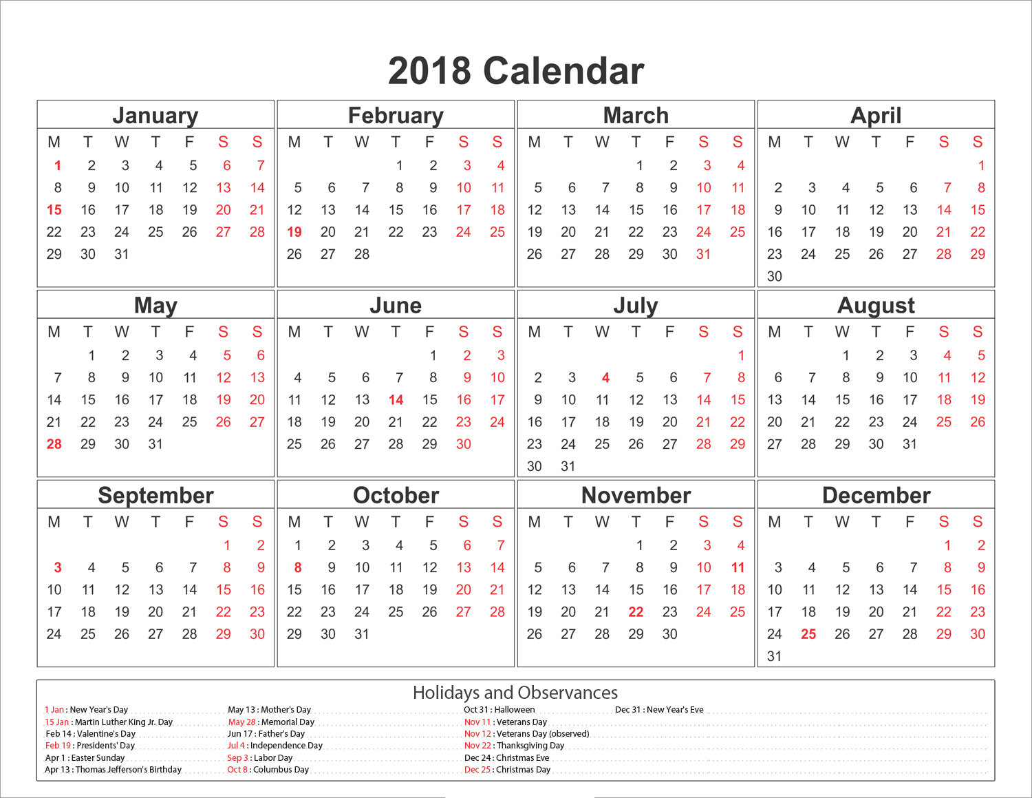 Yearly 2018 Calendar With Holidays 1 Png 1500 1159 Free Printable Calendar Templates Calendar 2019 Printable Calendar 2019 Template