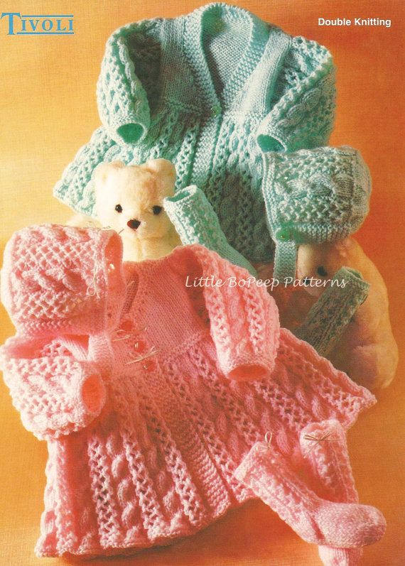 Baby Matinee Cardigancoat Bonnet And Socks To Knit Pdf Knitting