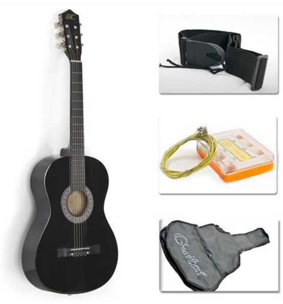 38 22 Black Acoustic Guitar Starter Package Guitar Gig Bag Strap Pick Best Acoustic Guitar Acoustic Guitar For Sale Acoustic Guitar Kits
