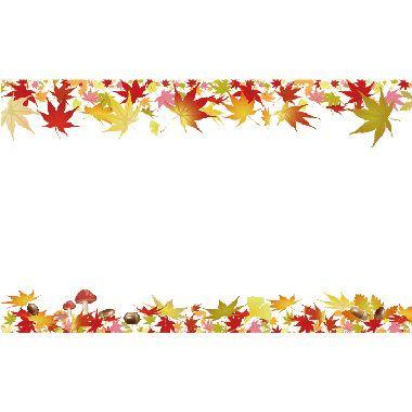 もみじ上下で囲む 文字入れ飾りフレーム背景イラスト イラスト 紅葉 もみじ 秋 イラスト 無料