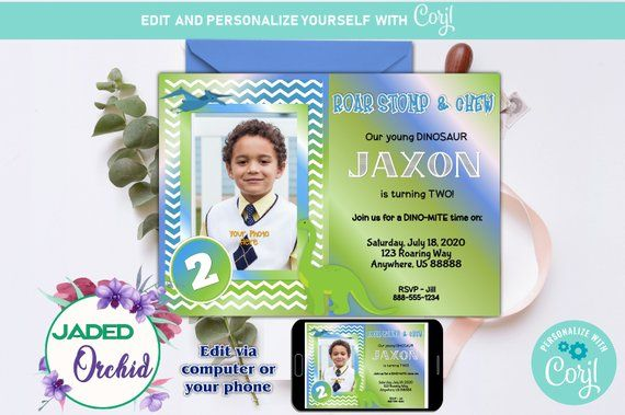 Boys Dinosaur Two Year Old Birthday Party Invitation With Photo Insert Template You Edit INSTANT ACCESS