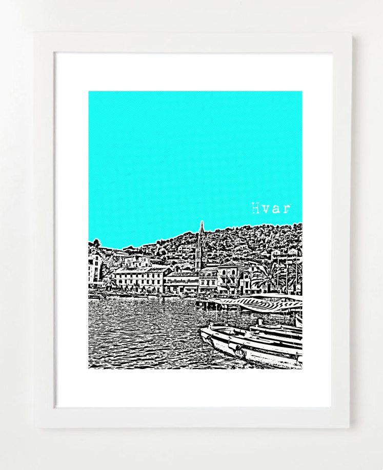 Hvar Skyline Poster, Croatia Art Print - City Skyline Series - 8x10 ...