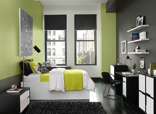 schlafzimmer modern gr ne farbe wand graue malerei pinterest gr n farbe w nde und grau. Black Bedroom Furniture Sets. Home Design Ideas