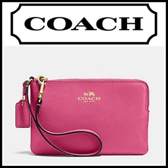 7998f8a4b6ec Coach Corner Zip Wristlet NWT 100% Authentic Coach Wristlet Crossgrain  Leather Corner Zip Wallet Dahlia Pink Cross-grain Leather Corner Zip  Wristlet Wallet ...