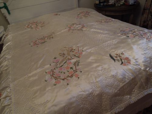 Vintage Asian White Satin Double Bed Coverlet Cover Bedspread 769 | EBay