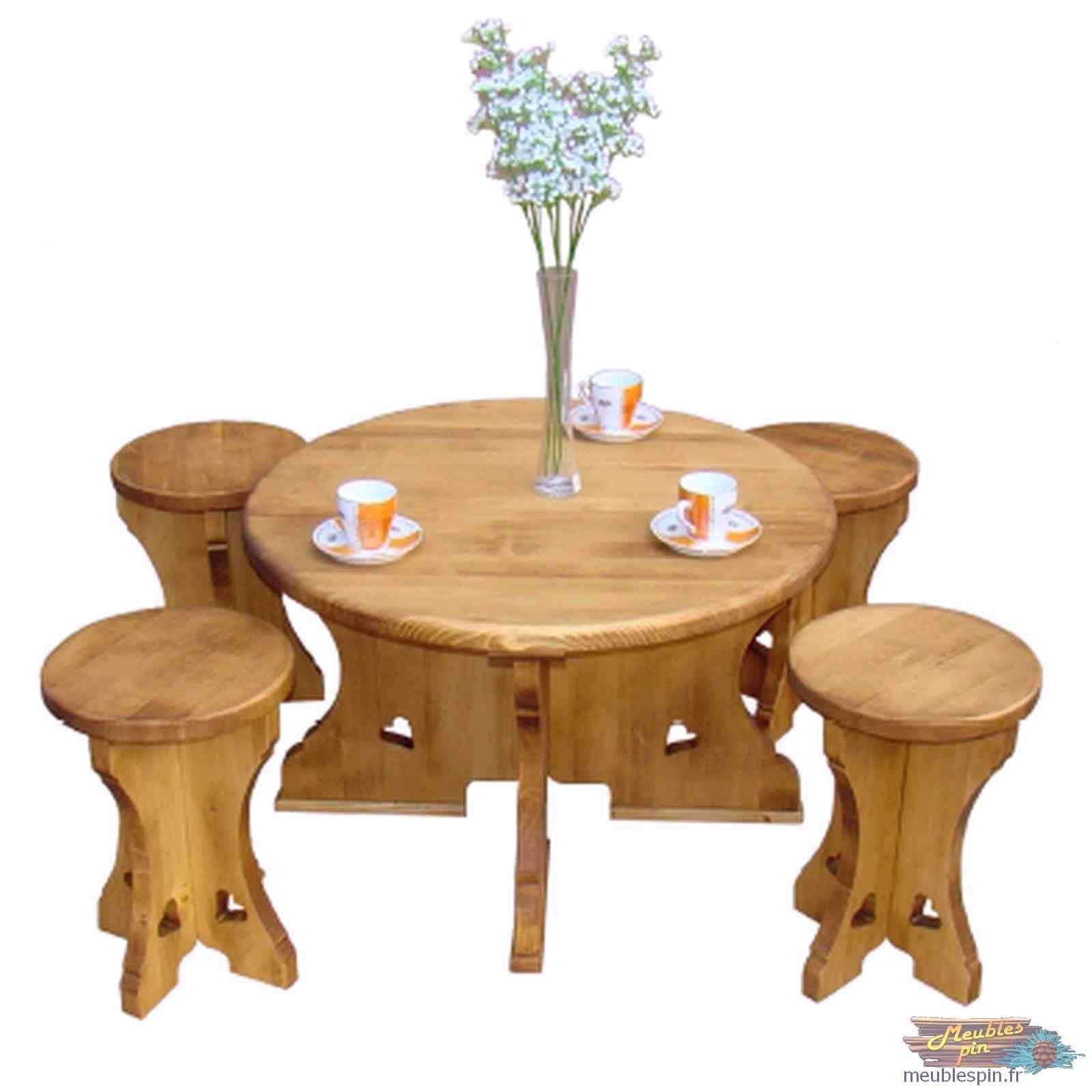 Table Basse Ronde En Pin Style Montagnard Meublespin Fr Table Basse Ronde Table Basse En Pin Table Basse