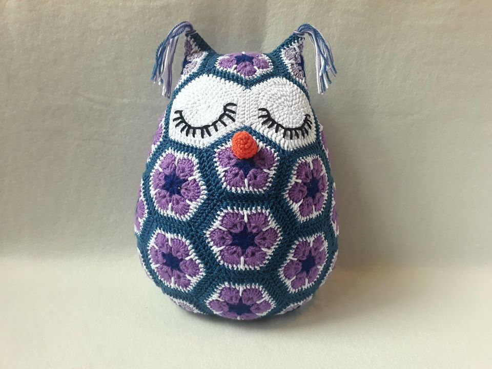 Crochet Owl Stuffed Animal, African Flower Owl, Stuffed Owl, Owl Nursery Decor, Child Gift, African Violet Pillow